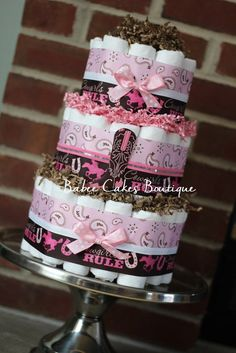 3 Tier Cowgirl Diaper Cake Cowgirl Baby by BabeeCakesBoutique