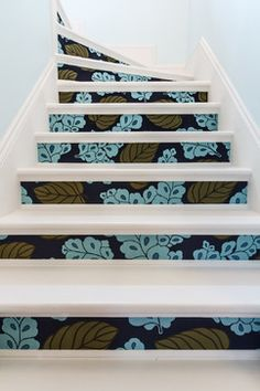 Stairs to the attic with some bold style.  These stairs set the tone for the attic space leading the owners and guest into their attic conversion with a sense of fun. Hoyt House - Staircase - Portland - Lynne Parker Designs