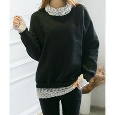 Stylish Long Sleeves Lace Splicing Sweatshirt For Women