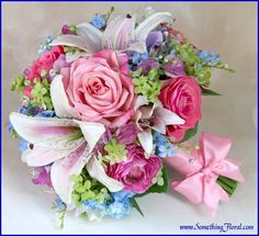 Feminine and romantic, garden style bouquet of realistic artificial/silk flowers, designed by Something Floral.