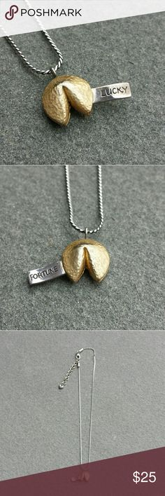 BRIGHTON Lucky Fortune Fortune cookie Charm necklace Adjustable length It has some tarnishing on it but it is easy to clean with a jewelry cloth to keep it shining  I offer a 15% discount on 2 or more items, thank you for stopping by my closet, have fun:) Brighton Jewelry Necklaces