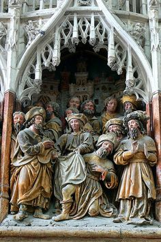 Polychrome Relief Telling The Story of St. James the Greater, Amiens Cathedral, c. 1511    http://professor-moriarty.com/info/en/section/sculpture/gothic-sculpture-polychrome-reliefs-telling-story-st-james-greater-amiens