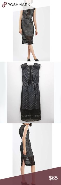 TOPSHOP  Beautiful Midi Black Dress Beautiful Fishnet Braid Trim Midi black dress • Used once • Excellent condition • The details in the dress is a must see in person • See through neck line • has slit • 100% Polyester • No Defects Topshop Dresses Midi
