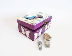 Butterfly watch box handmade watch case gift for her Watch Box, Watch Case, Jewelry Box, Unique Jewelry, Gifts For Her, Decorative Boxes, Butterfly, Handmade Gifts, Etsy