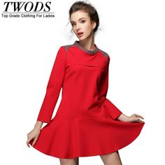 S- 5XL Black Red Autumn Drop Waist Dress Long Sleeve Beading O neck Short Mini Designer Great, huh? http://www.artifashion.net/product/s-5xl-black-red-autumn-drop-waist-dress-long-sleeve-beading-o-neck-short-mini-designer/ #shop #beauty #Woman's fashion #Products