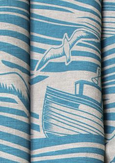 Mini Moderns - this is Whitby Linen Fabric. All at sea on cushions and tea towels