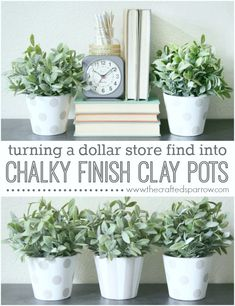 Chalky Finish Clay Pots, taking dollar store finds and turning them into something fabulous! thecraftedsparrow.com