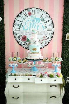 Gorgeous cakescape with pulled out drawers for extra sweets from this Alice in Wonderland Birthday Party at Kara's Party Ideas. See it all at karaspartyideas.com!