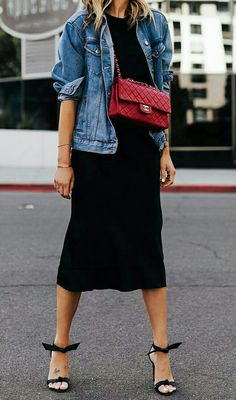 Fashion Jackson Wearing Denim Jacket Black Tshirt Black Silk Skirt Red Chanel Handbag Alexandre Birman Clarita Black Sandals Source by mbelvel outfits chic Fashion Mode, Denim Fashion, Look Fashion, Fashion Outfits, Chanel Fashion, Spring Fashion, Jackets Fashion, Queer Fashion, Classic Fashion