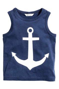 Vest top with a print motif - Dark blue/Anchor - Kids | H&M 1