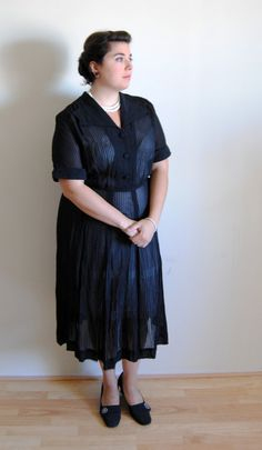 Plus Size Vintage 1940's Dress Sheer Black by DollFaceProductions, $70.00