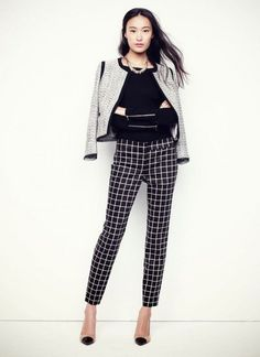 Checkered work trousers for women. Business casual pants with grey blazer.