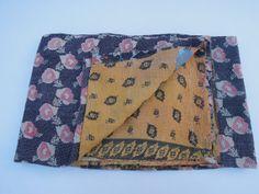 Beautiful Antique Quilt Cotton Sari Kantha Quilted Patchwork Bedspreads,Throws,Ralli,Gudari Gudri Handmade Tapestery Bedding Decor