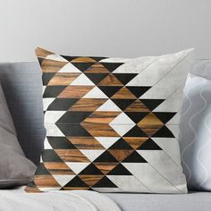 'Urban Tribal Pattern 9 - Aztec - Concrete and Wood' Throw Pillow by Zoltan Ratko Aztec Home Decor, Tribal Decor, Mosaic Diy, Mosaic Crafts, Aztec Bedroom, Morrocan Decor, Flower Ball, Tribal Patterns, Do It Yourself Home