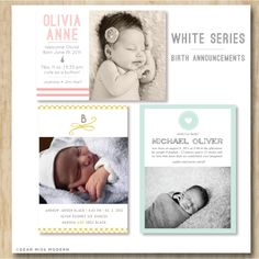 Image of White Series Birth Announcements