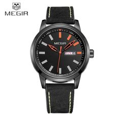 MEGIR Comfortable PU Strap Quartz Wristwatch 3ATM Water Resistant Analog Man Watch with Date Week Display
