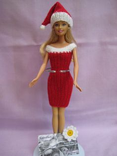 Barbie Clothes, Christmas Dress and Hat £4.95