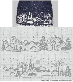 knit colorwork snow scene