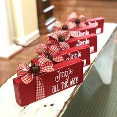 Jingle Bell Block - Wooden Christmas Sign - Jingle All the Way - Rustic Holiday Decor - Mantel or Bookshelf Decor - Home Accent Christmas Blocks, Christmas Wood Crafts, Diy Christmas Tree, Christmas Signs, Homemade Christmas, Simple Christmas, Holiday Crafts, Christmas Wreaths, Christmas Ornaments
