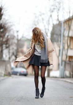 Jacket: Zara  Scarf: Acne  Shirt: UAC, Urban A  Skirt: H & M  Shoes: Acne