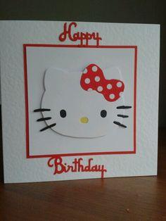 Hello Kitty Card Hello Kitty Themes, Hello Kitty Cake, Cat Cards, Kids Cards, Girl Birthday Cards, Scrapbook Cards, Scrapbooking, Cricut Cards, Animal Cards