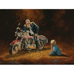 Dave Barnhouse When I grow Up Boy with Motorcycle Art Print-Framed Motorcycle Art, Bike Art, David Mann Art, Terry Redlin, Harley Davidson Art, Painting Prints, Art Prints, Country Art, Wildlife Art