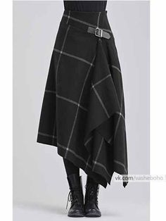 Modern take on a kilt in black with white windowpane pattern - Designer Dresses Couture Mode Outfits, Skirt Outfits, Dress Skirt, Fashion Outfits, Womens Fashion, Tartan Skirt Outfit, Tartan Skirts, Kilt Skirt, Skirt Boots
