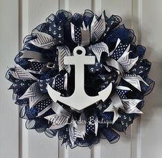 Navy Blue and Grey Nautical Wreath - Anchor Wreath - Beach Themed Wreath by MrsLanderBoutique on Etsy