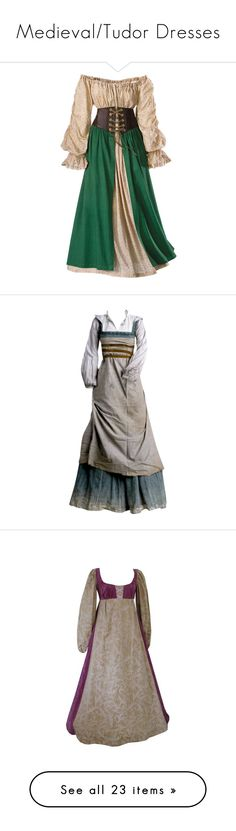 """""""Medieval/Tudor Dresses"""" by chasity-whittington ❤ liked on Polyvore featuring dresses, medieval, costumes, gowns, plus size, plus size chemise, long chemise, costume, dirndl costume and gown"""