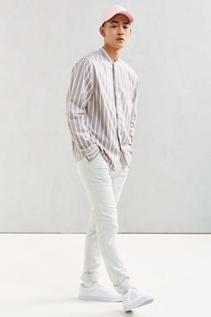 UO Vertical Stripe Band Collar Button-Down Shirt - Urban Outfitters