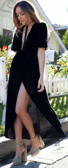 Ashley Madekwe + amazing platforms + flowy dress + romantic look.  How To Wear A Velvet Dress: Reformation, Shoes: Charlotte Olympia, Choker, Saint Laurent, Bag: Chanel