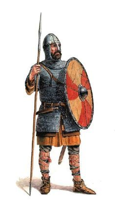 Polish warrior (woj) of Bolesław Chrobry; timeline: turn of the 10th/11th centuries. Drawing by Jarosław Gryguć. 16