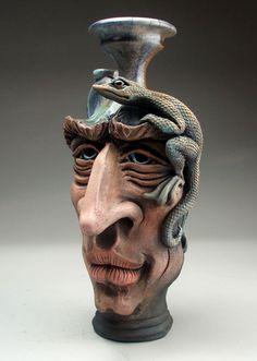 Face Jug Lizard Pottery folk art raku sculpture by Mitchell Grafton