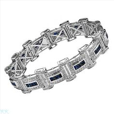 $3,209.00  Amazing Brand New Gentlemens Bracelet With 8.80ctw Precious Stones - Genuine  Clean Diamonds and Sapphires  14K White Gold. Total item weight 47.3g  Length 8.5in - Certificate Available.