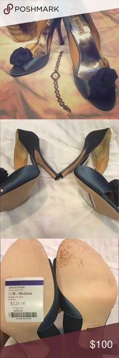 💕Badgley Mischka Heels💕 Navy Blue heels with a satin decor. Brand new with sticker from when I bought it. I never wore them but they do have some stain on the bottom (see photo) has a leather sole Badgley Mischka Shoes Heels