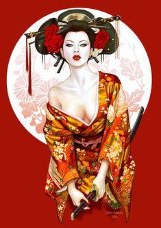 Geisha by: Little-Ginkgo (Nga) by Rworld♫♪ Art Geisha, Geisha Drawing, Geisha Anime, Geisha Japan, Samourai Tattoo, Geisha Tattoo Design, Character Art, Character Design, Art Asiatique