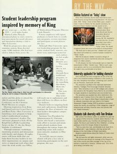 """Ohio Today, Winter 2000.  """"Student leadership program inspired by memory of King"""" :: Ohio University Archives."""