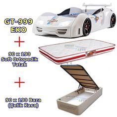 Beyaz Gt Bazalı Araba Yatak - Full Işıklı Araba Yatak