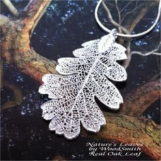 Real Leaf Jewelry, Silver Oak Necklace, Nature's Leaves, Sterling or Antique Silver. $12.95, via Etsy.