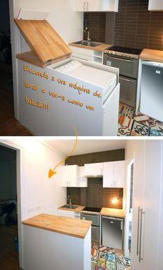 Máquina de lavar roupa embutida em bancada