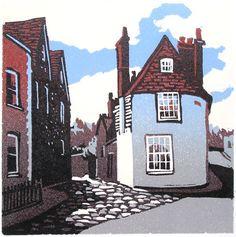 Lewes, Rotten Row. Linocut