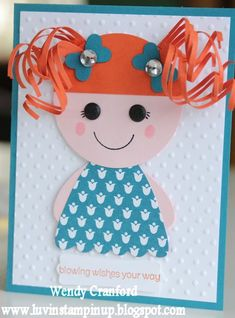 Luv the curly red hair - [Stampin' Up! Punch Art by Wendy C at Luvin Stampin Up: Lalaloopsy Girls] Kinder Karte Girl Birthday Cards, Handmade Birthday Cards, Greeting Cards Handmade, Card Ideas Birthday, 5th Birthday, Princess Birthday, Birthday Invitations, Baby Cards, Kids Cards