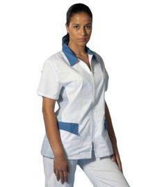 Casaca de sanitaria tipo chaqueta con cierre de cremallera y manga corta y disponible en 2 colores blanco combinado con azul o blanco combinado con verde quirófano. Chef Jackets, Fashion, Shopping, Templates, Sun, Jackets, Pants, Zippers, Moda