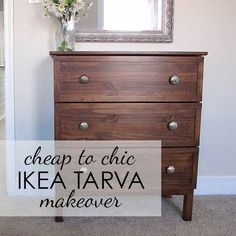 Simple & Chic IKEA Tarva Makeover with Gel Stain, Trim, & Mercury Glass Hardware Couch Table, Patio Table, Faux Concrete Countertops, Diy King Bed Frame, California King Bed Frame, Pallet Accent Wall, Eco Furniture, Furniture Outlet, Wood Tile Floors