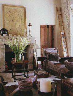 Interior by Rose Tarlow. A warm mix of textures, materials, tones.