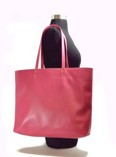 BUBBLEGUM PINK Tote Bag Leather Tote by AnythingbutPlainJane