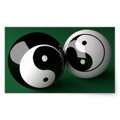 Yin Yang Billiard Balls Rectangular Stickers
