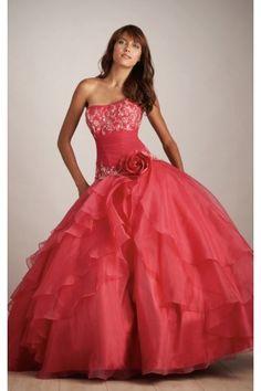 Cheap Strapless Sleeveless Organza Ball Gown Floor-length Wedding Dresses
