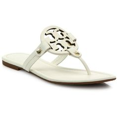 00212fcda7 Tory Burch Miller Leather Logo Thong Sandals ( 195) ❤ liked on Polyvore  featuring shoes