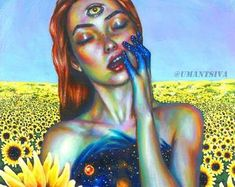 - Original acrylic painting on canvas board, unique artwork, sunflower field landscape, girl with third eye Acrylic Painting Canvas, Canvas Art, Canvas Prints, Acrylic Art, Painting Art, Unique Paintings, Original Paintings, Surrealism Painting, Psychedelic Art